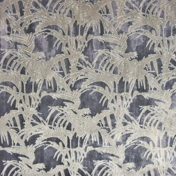 Polsterstoff Samt Jacquard Tropicale Charcoal